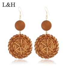 L&H Handmade Rattan Knit Drop Earrings Vintage Wooden Round For Women Fashion Statement Pendant Jewelry