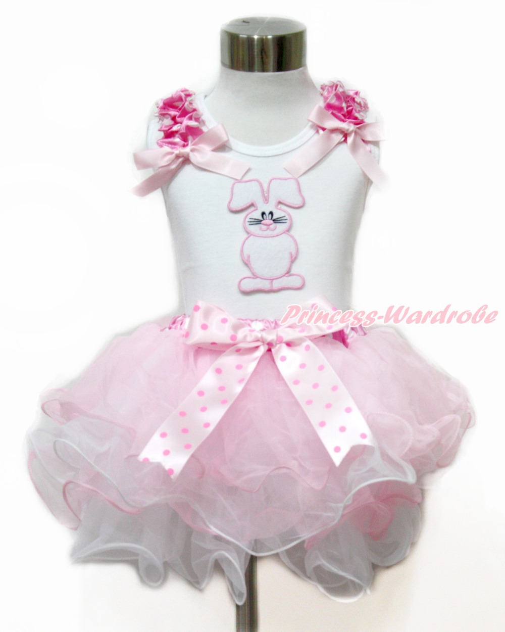 ФОТО Easter White Tank Top With Hot Pink &Light Pink Bow& Bunny Rabbit & Light Hot Pink Dots Bow Pink White Petal Pettiskirt MAMG1109