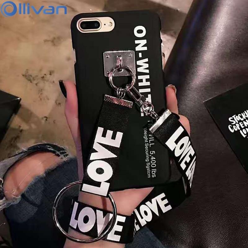 Galleria fotografica Fashion Love Grip Strap + Lanyard Case for iphone 6s 6 plus 7 8 Plus Letter Couple Love Case For Iphone 6s plus Back Cover Coque