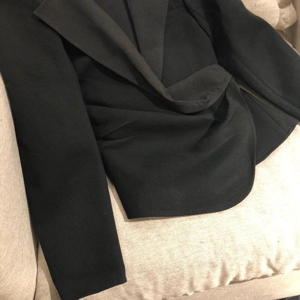 0315 2019 Pila La Alta Primavera Sexy Calidad Pliegues Chaqueta Mujeres Negro Con Lana Oblicua Las V En De Cuello Tqf55CwxR