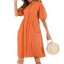 купить 2019 New Yfashion Women Casual Loose Cotton Waisted Dress with Button-up Row Dress по цене 635.73 рублей