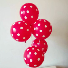 Red wave point latex balloon 50pcs/lot12 inch thick round helium ballon happy birthday eid mubarak wedding balloons