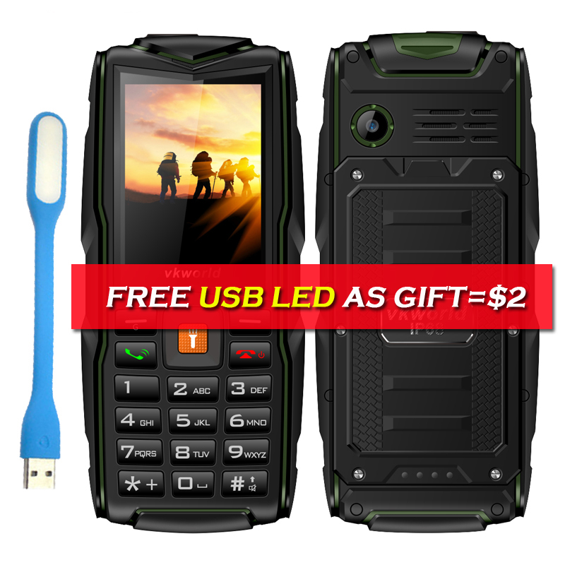 Russian Keyboard Vkworld Stone V3 IP68 Waterproof Cell Phone GSM FM 3000mAh Battery Long Standby 2.4