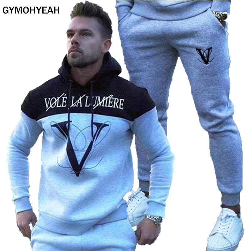 NEW Men's Sets Tracksuit Men Sports Suit Chandal Hombre Survetement Homme Trainingspak Mannen Tuta Uomo Mens Fashion Tracksuit