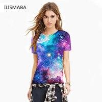 New Ladies Fashion T Shirt Blue Sky Digital Print 3D High Definition Three Dimensional Pattern Short