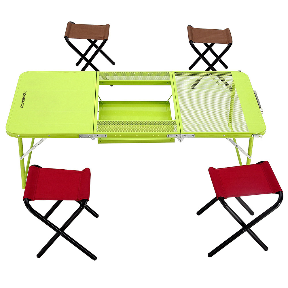 Folding camp table and chairs - Tomshoo 2 Levels Adjustable Height Strong Iron Portable Folding Tables Camping Table For Outdoor Picnic With 4pcs Chairs
