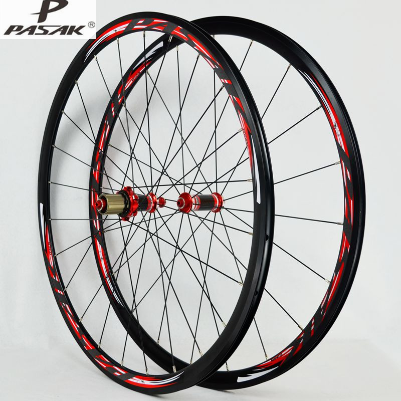 700C Road Bike Bicycle Carbon Fiber hub Sealed Bearings Wheel Straight Pull V/C Brakes 30MM Rim Wheels free