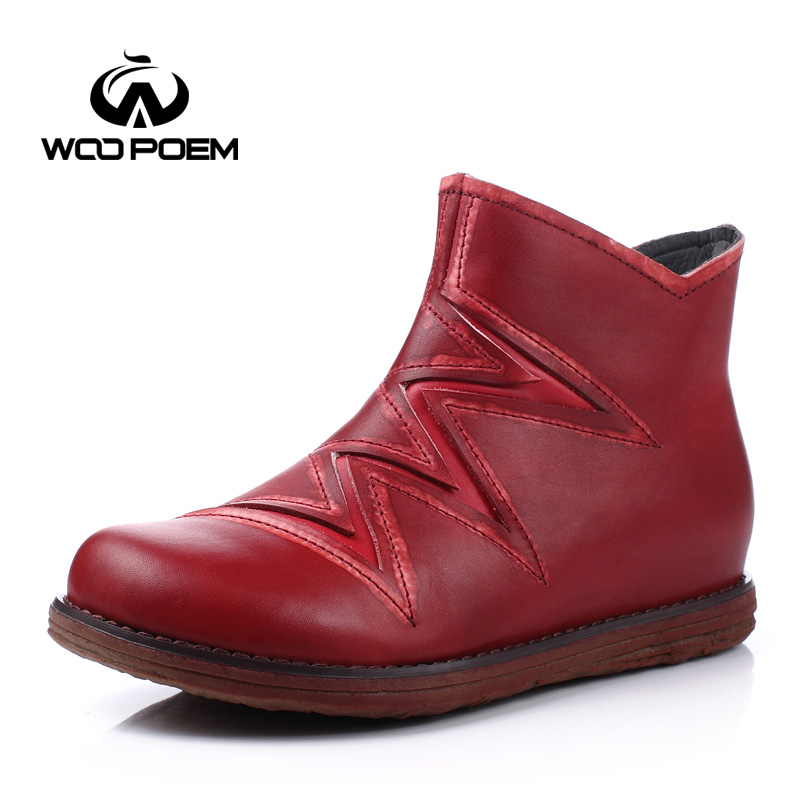 ФОТО WooPoem Autumn Winter Shoes Women Breathable Cow Leather Boots Med Heel Ankle Boots Classic Height Increasing Women Boots L08-9