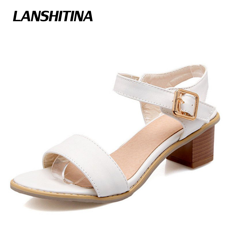 LANSHITINA Big Size 30-50 Woman Square Sandals Women Summer Sandals Women Thick High Heels Sandals Concise Fashion Shoes G1890