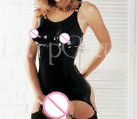 Mould Black Latex Dress With Garter Suspenders girdle Rubber straps grips clip