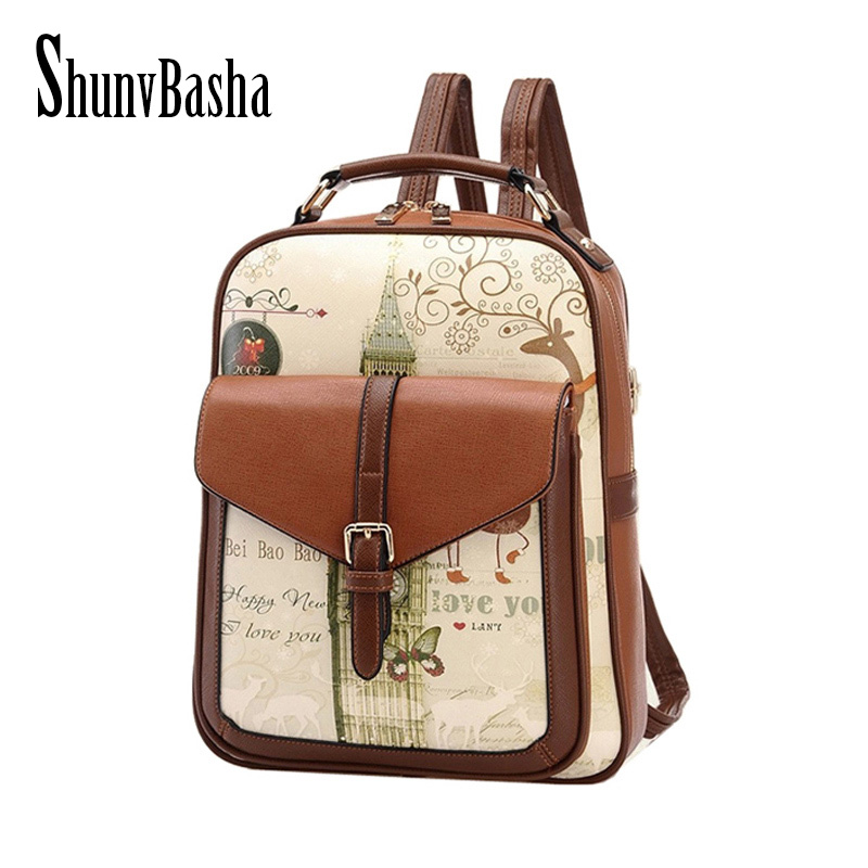 ShunvBasha Fashion Women Backpack College Style Good Quality School Backpacks Teenage Girls Women Pu Leather Backpack Mochila