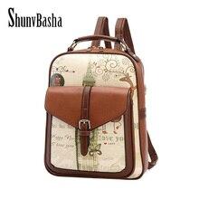 ShunvBasha Fashion Women Backpack College Style Good Quality School Backpacks Teenage Girls Women Pu Leather Backpack Mochila