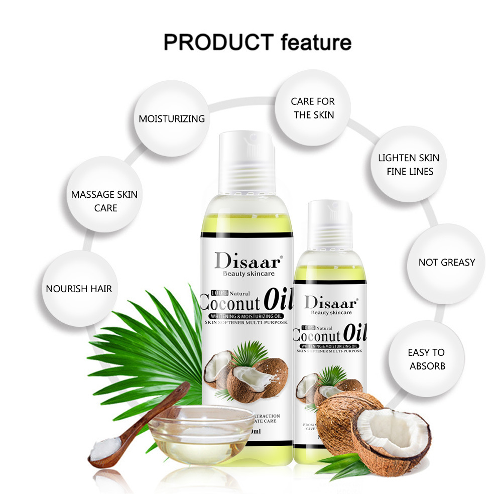 Disaar 100% Natural Organic Virgin Coconut Oil Body and Face Massage Best Skin Care Massage Relaxation Oil Control Product 6