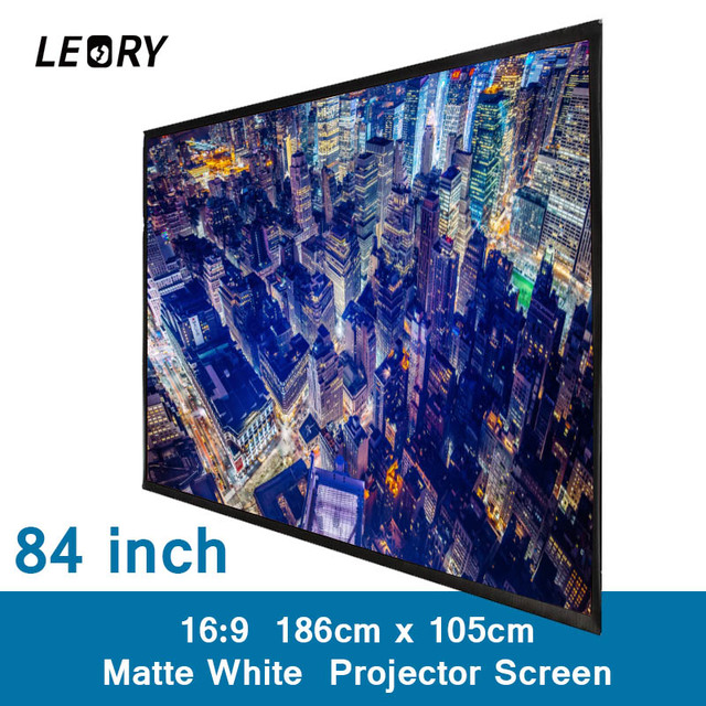 LEORY 84 Inch 16:9 PVC Projection Screen Matt White Fabric Portable Projector Screen For Wall Mounted Home Theater Office Games