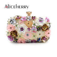 Aliceherry Luxury Handbags Women Bags Designer Evening Bags Female Colorful Flowers Beaded Chain Purses Wedding Praty Clutch Bag