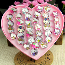 36pcs lovely superman animation cartoon Children/Kids/Girls Cartoon Hello Kitty KT Cat Acrylic Lucite Resin Rings Free Shipping(China)