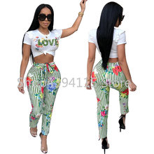 summer 2019 sexy crop top club two piece set tracksuit women 2 piece set women outfits sexy letter tops and pants set 3437(China)