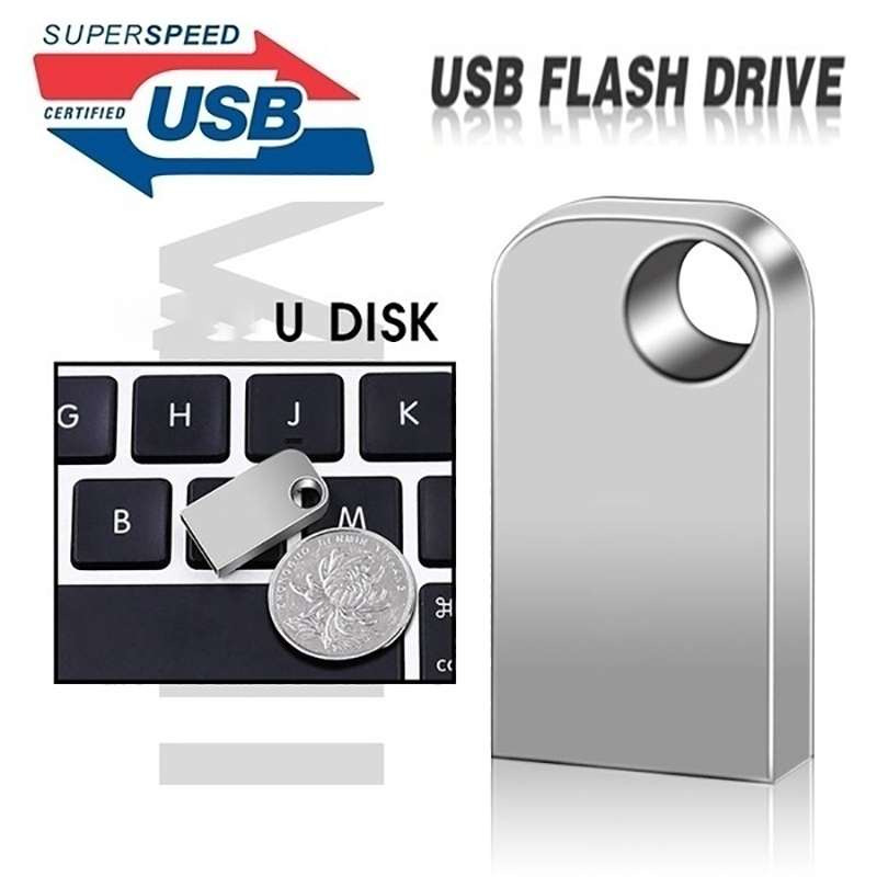 Mini Memory Stick Usb 3.0 Waterproof Metal Usb Flash Drive 128gb 64GB U Disk Key Pendrive 16GB 8GB 4GB 32GB  Pen Drive + Adapter