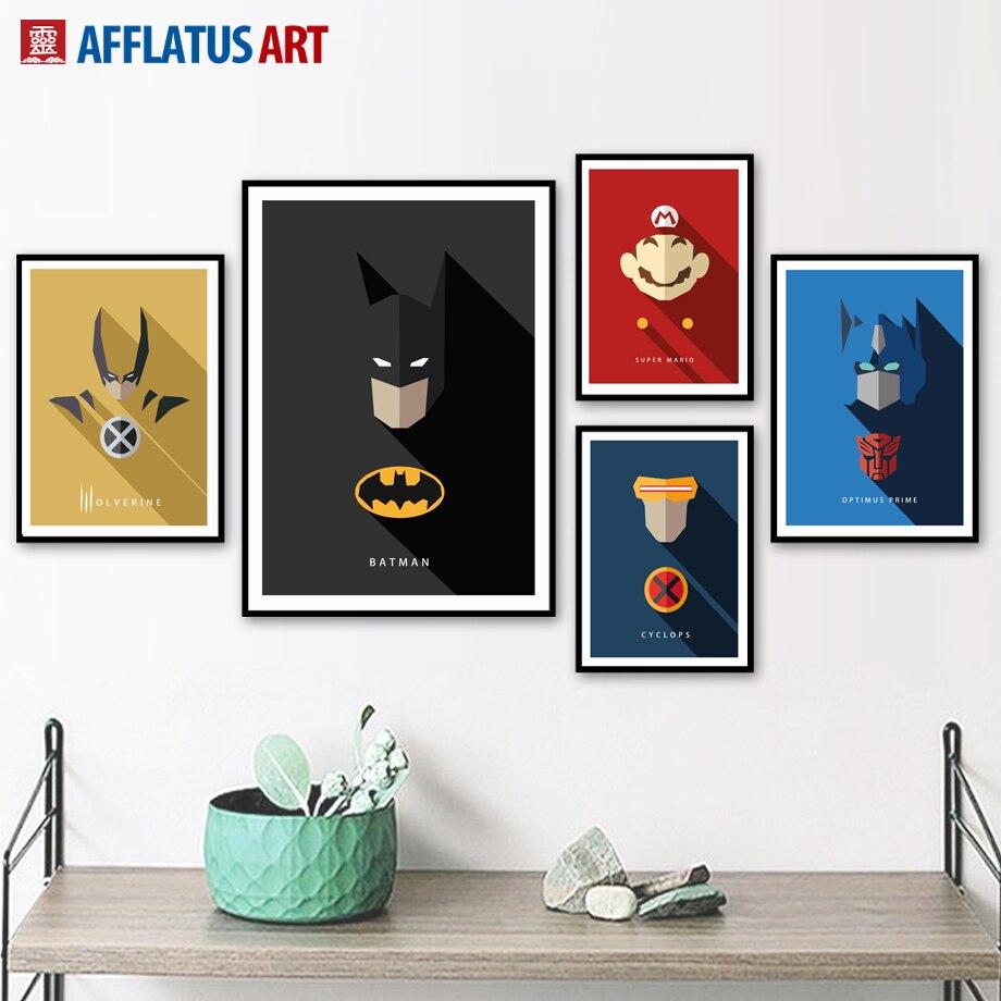 Batman Superhero Nordic Poster Wall Art Canvas Painting Posters Prints Home