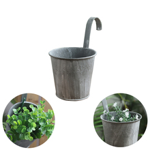 Pots Plant Flower Holders Wall Hanging Holder with Nail Metal Bucket Pot Balcony decorative flower pot