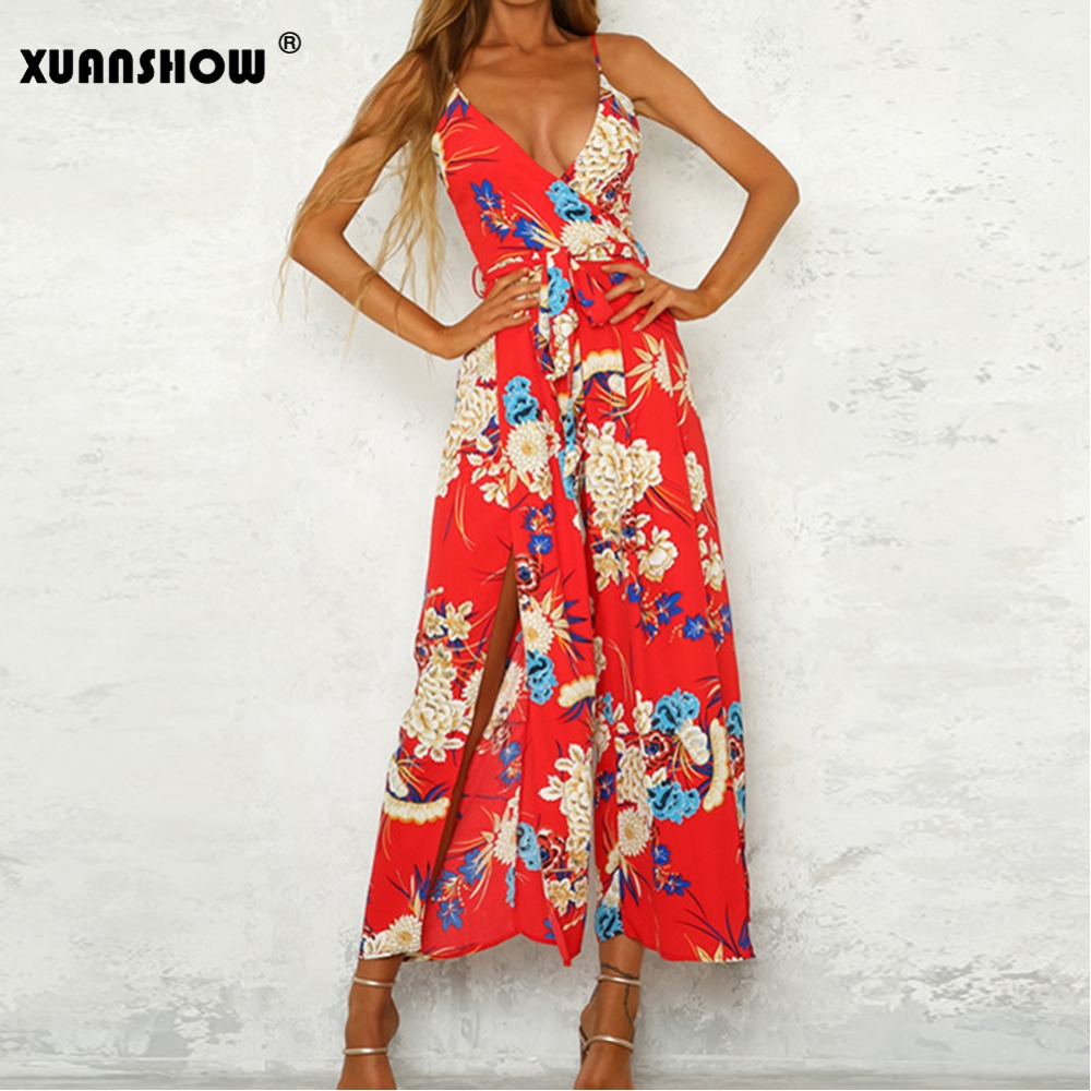 XUANSHOW Floral Print Jumpsuit Sexy V Neck Backless Strap Flower Loose Womens Overalls Bohemian Ladies Office Jumpsuits 2018