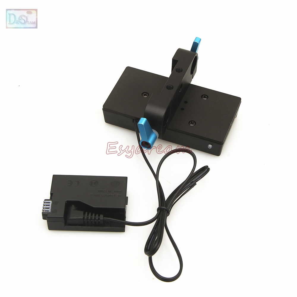 LP-E8 batterie factice + F970 F960 support de plaque d'alimentation + 15mm pince de tige pour Canon 550D 600D 650D 700D rebelle T2i T3i T4i T5i