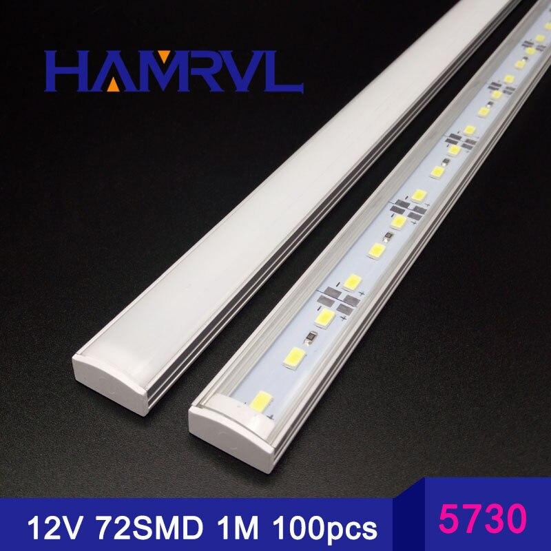 100CM 50pcs 100 pièces smd 5730 rigide blanc froid 36LED s cuisine lumière LED DC 12V bande dure avec U falt couverture