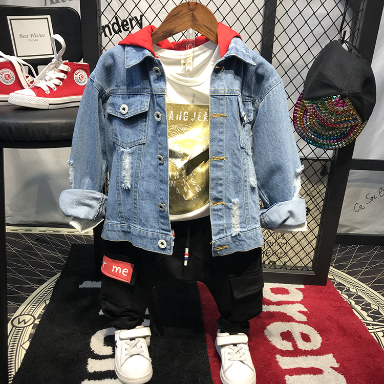 fe2ebcd70 2018 New boy fashion hoodies jacket back printed denim coats jackets ...