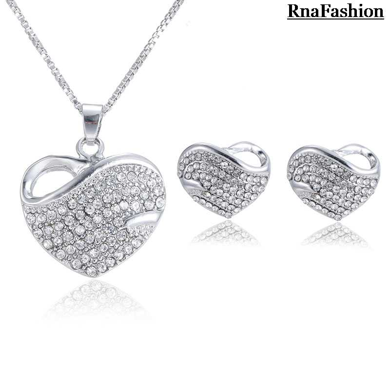 RNAFASHION Jewellery Heart Shape Necklaces & Pendants Heart Shape Stud Earring Full Of Rhinestone Jewelry Sets For Women Brides