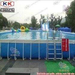 Hinterhof Schwimmbecken Über Boden Metall Rahmen Pool Mit Leitern
