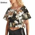 Qickitout 2016 do navio da gota mulher camisetas de verão bonito cat 3d impresso casual solto top camisas da forma t mulheres clothing básico Tee
