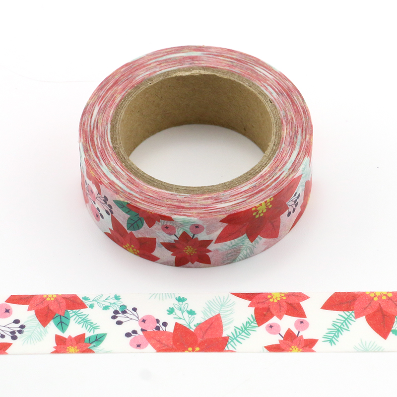 1X Shining red Maple leaves Washi Tape Decorative Adhesive Tape Decora Diy Scrapbooking Sticker Label Stationery