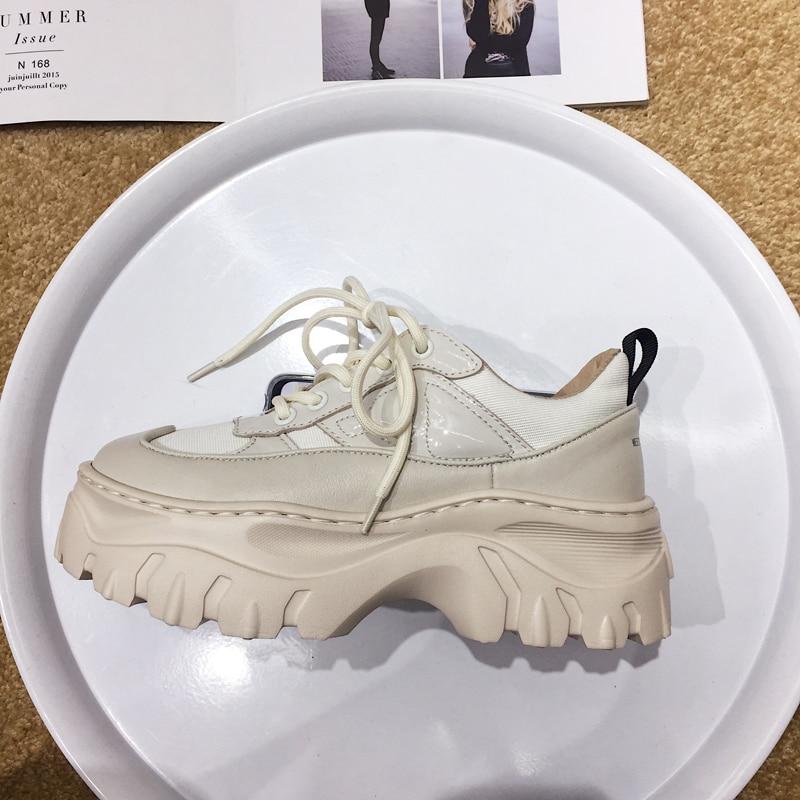Vache Silla Rond Cuir Zapatillas Chaussures En Bout Femmes Dirigeants Casual Fond Épais Mujer Piste Femme White 2018 Blanc Riz Lacent 8wSx1rqC8