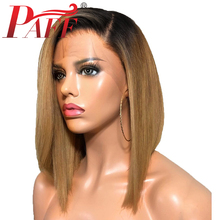 PAFF Short Ombre Full Lace Human Hair Wig 180Density Pre Plucked Bob Two tone 1B 27 Straight Brazilian Remy