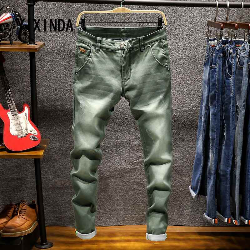 YIXINDA Brand Spring new mens jeans fashion trend casual large size denim pants high quality cotton stretch pants