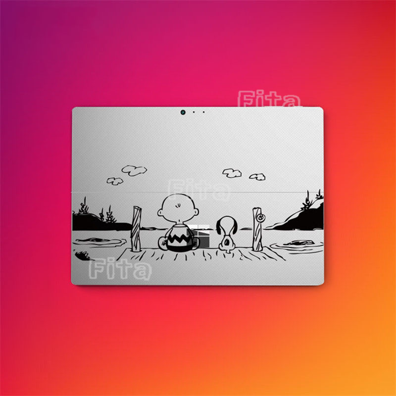 Cartoon Back Cover Film For Microsoft Surface Pro 4 Protective Skin Silver Sticker protective silver plated plastic back case for iphone 4 4s purple silver