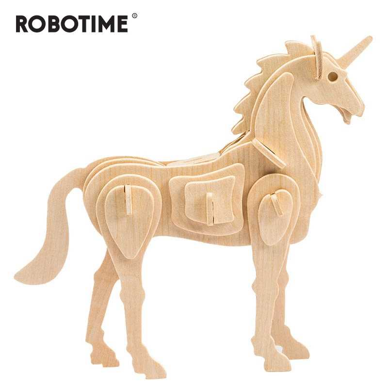 Robotime Creative DIY 3D Unicorn Wooden Puzzle Game Assembly Nature Color Toy Gift for Children Kids JP257