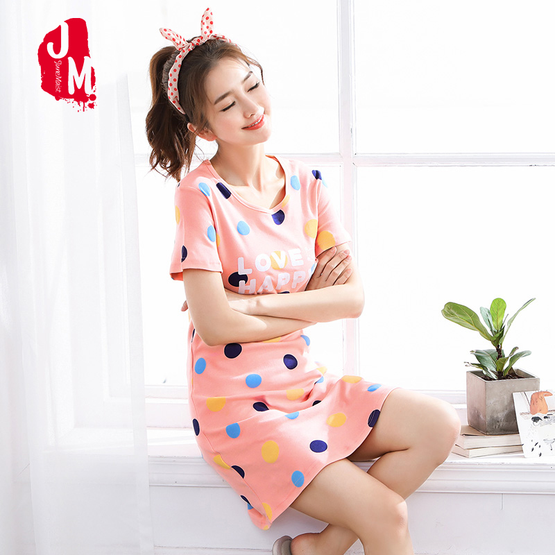 2019 New Cotton Nightgown Women Sweet Girl Lounge Cute Nightdress Sleepwear Summer Home Dress Casual Nightwear Sleepshirts Shirt