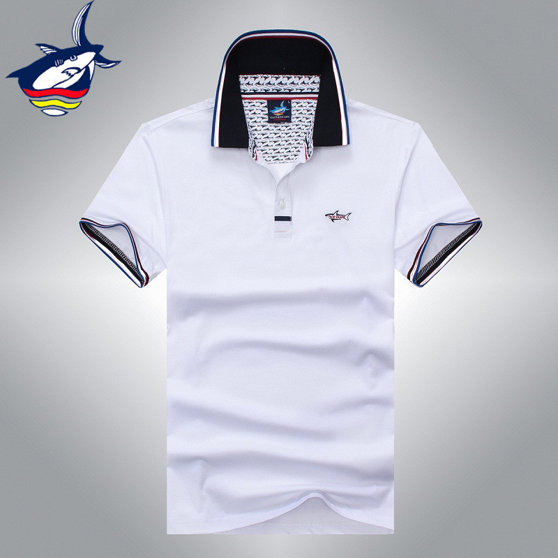 New Famous brand Tace & Shark polo shirt Summer European style business men polo shirt pure color cotton lapel polo shark shirt