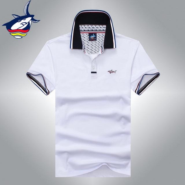 Nova marca Famosa Tace   Shark polo camisa Verão estilo Europeu camisa dos  homens do polo b660dbaea4099