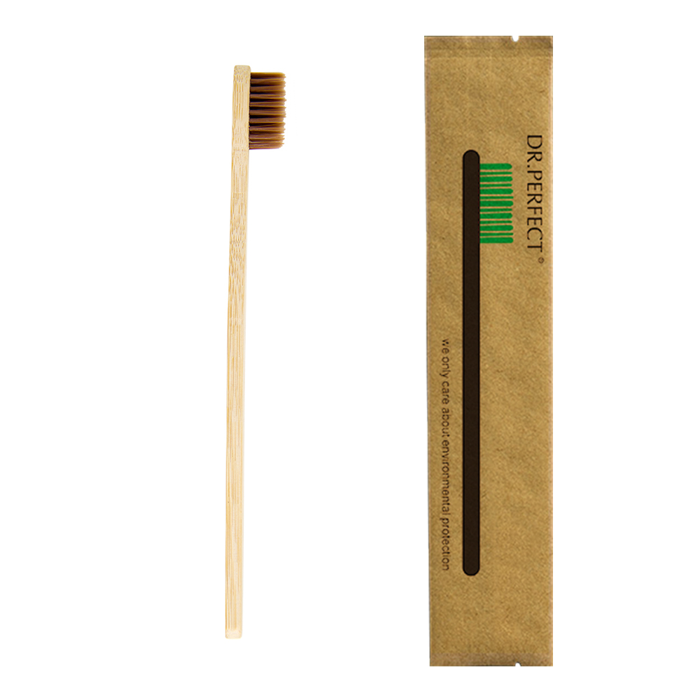 1 Piece Brown 100% Bamboo Made Toothbrush Wood toothbrush Novelty Bamboo soft-bristle Capitellum Bamboo Fibre Wooden Handle image
