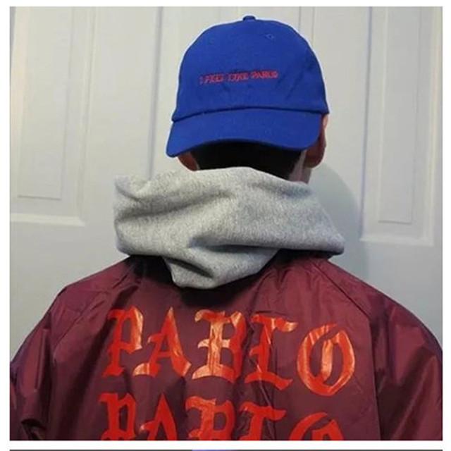 Yeezy Kanye West Eu SINTO COMO PABLO Bordados Tampões Das Mulheres Dos Homens Snapback do Boné de Beisebol do Hip hop Streetwear Preto Cinta de volta Chapéu Branco