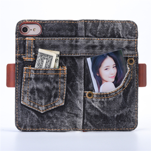 Image 3 - Fashion Jeans Canvas Cloth Leather Case For iphone 6 6s 7 7 Plus Case Book Flip Stand Wallet Bag For iphone X 8 8 Plus Cover Gel