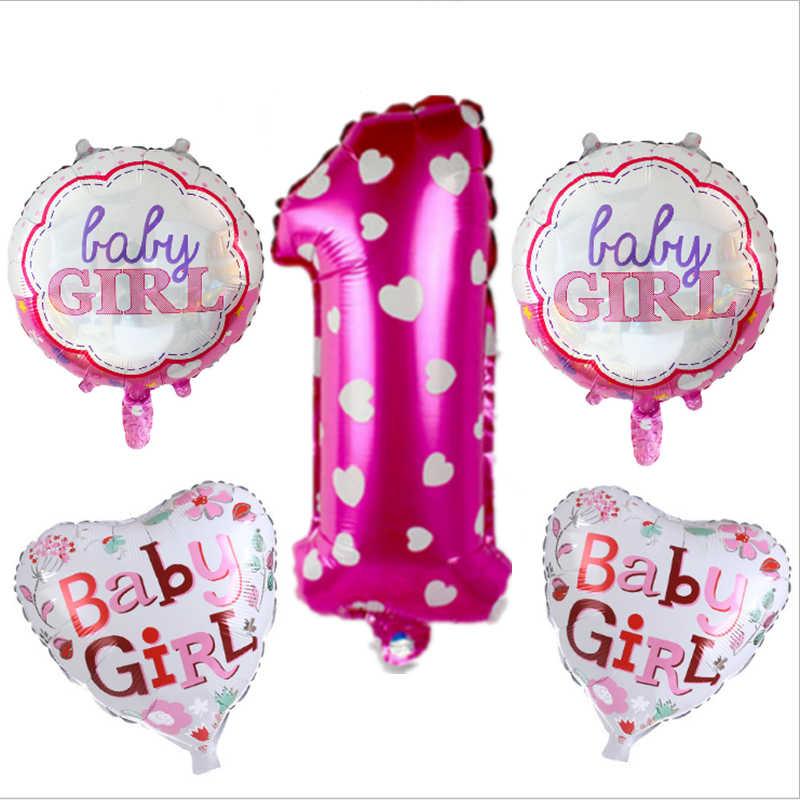 5 pièces/ensemble 32 pouces bleu garçon rose fille bébé fête d'anniversaire feuille d'aluminium 0-9 chiffres rond et en forme de coeur ballon bébé douche approvisionnement