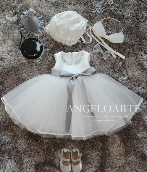Free shipping short White baby infant 1st birthday outfit beaded christening gown With silver sash Bow Flower Girl Dresses цена