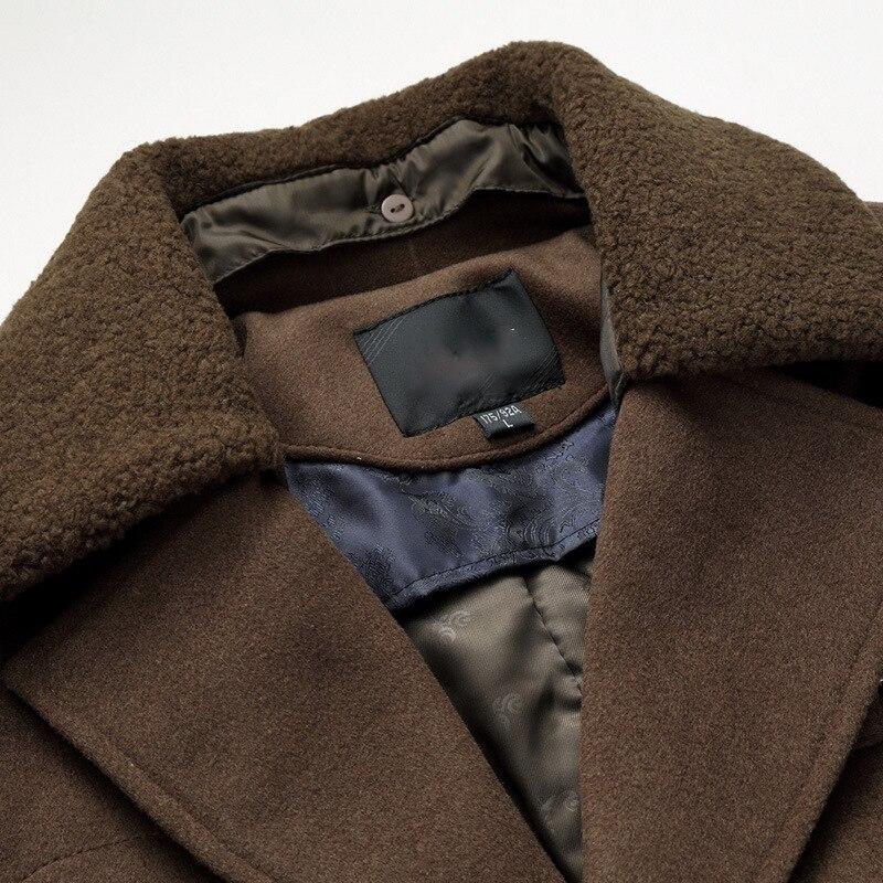 Mâle nouveau 2019 épais laine affaires décontracté hommes manteau automne hiver pardessus mode mélanges marque vêtements MOOWNUC épissage - 5