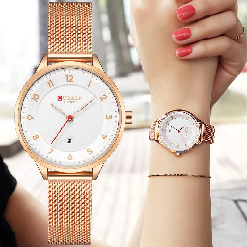 CURREN Women Watches Top Brand Luxury Gold Ladies Watch Women Stainless Steel Band Classic Dress Bracelet Relogio Masculino цена 2017