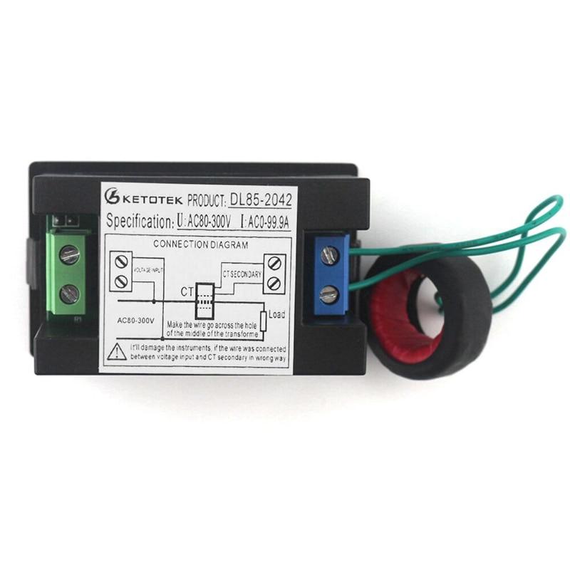 Digital Ac Ammeter Circuit Diagram Freightliner Mt45 Wiring Voltmeter Ampermeter 80 300v 0 100a Led Volt Amp Meter Voltage Current Ampere Panel In Meters From Tools On