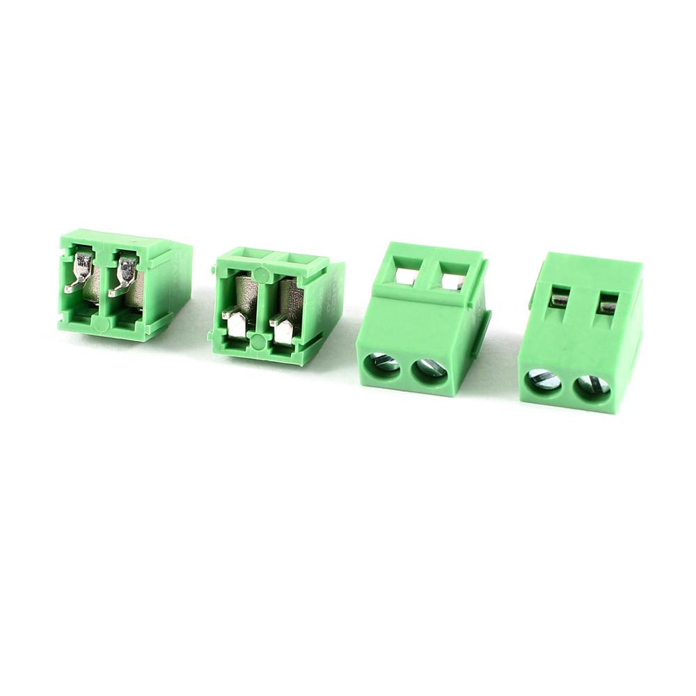 4 Pcs 2P 5Mm Pitch Pcb Mount Screw Terminal Block 10A 300V Awg22-12