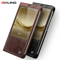 For Huawei Mate 8 Leather Cases QIALINO Genuine Leather Smart Window Phone Cover Case For Huawei